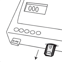 CRP-Testverfahren Piktogramm: Resultat erscheint am Display